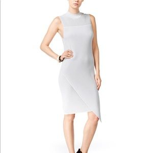 Bar III Gray Asymmetrical Ribbed Bodycon Dress